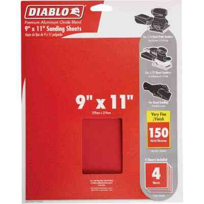 Diablo 9 In. x 11 In. 150 Grit Very Fine Sandpaper (4-Pack)