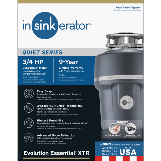 Insinkerator Evolution Essential 3/4 HP Garbage Disposer, 9 Year Warranty