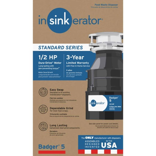 Insinkerator Badger 1/2 HP Garbage Disposer, 3 Year Warranty