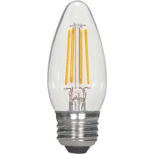 Satco 40W Equivalent Warm White B11 Medium Traditional LED Decorative Light Bulb (2-Pack)