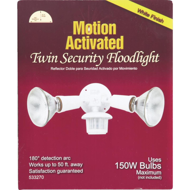 White Motion Sensing Dusk To Dawn Incandescent Floodlight Fixture Image 2