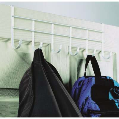 Spectrum White Over-The-Door Hook Rail with 6 Hooks