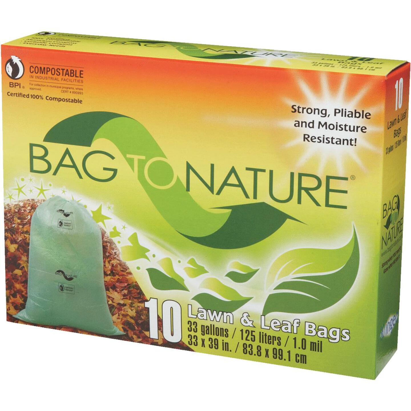 Bag To Nature 33 Gal. Green Compostable Houston Approved Lawn & Leaf Bag (10-Count) Image 3