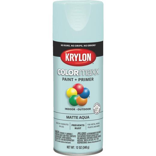 Krylon ColorMaxx 12 Oz. Matte Paint + Primer Spray Paint, Aqua